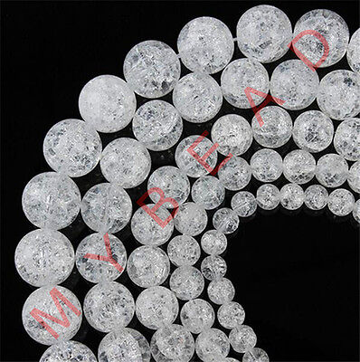 4/6/8/10mm Loose Snow Cracked Round White Crystal Spacer Beads Jewelry DIY