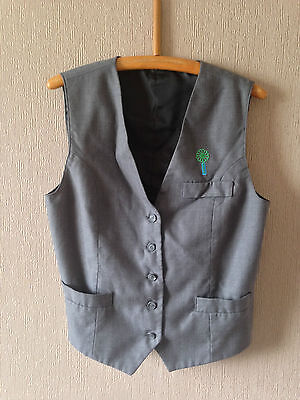 """Vintage Smart Grey Ladies Waistcoat with Green and Blue Flower - Size Med 36"""""""
