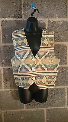 """Vintage Thick Light Patterned Waistcoat with V Neck and Buttons- Size Medium 38"""""""