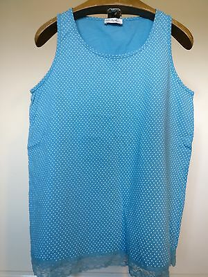 """Vintage Bright Blue with a White Polka Dot Pattern and Lace Trim - Large 44"""""""