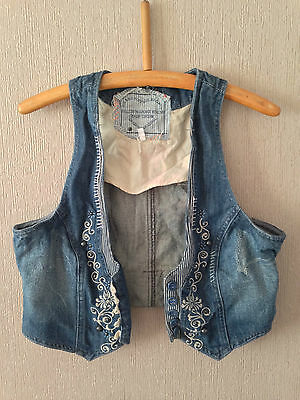 """Vintage Denim Ladies Waistcoat with Floral Pattern Front - Size Small 34"""""""
