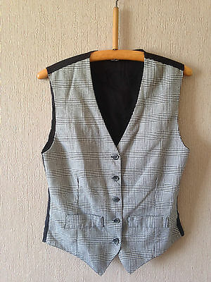 Vintage Black Ladies Waistcoat with Black/White Check Front - Size Small 34""