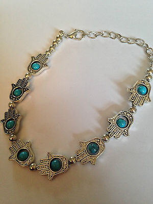 Vintage Style Silver Metal Bracelet with Blue Hands