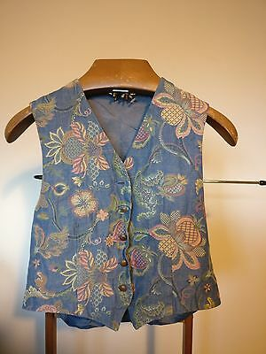Vintage Blue Waistcoat with Colour Pattern Front - Size Medium 36""
