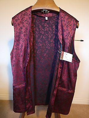 """Vintage Long Red Waistcoat with Black Floral Patterns - Size XXL 52"""""""