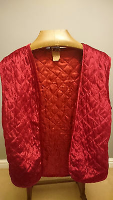 Vintage Bright Red Soft Ladies Waistcoat with Quilted Effect  - Size Large 42""