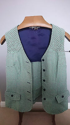 Vintage White Ladies Waistcoat with Green and Blue Check Pattern - Size Med 36""