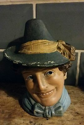 Antique Novelty Pottery  Tobacco Jar 19Th C. Smiling Dandy