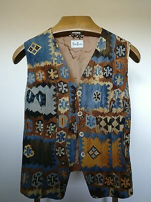 """Vintage Brown Waistcoat with a Funky Patterned Front - Size Medium 36"""""""