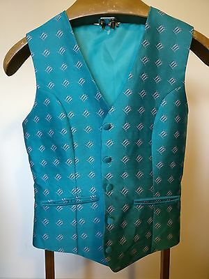 Vintage Turquoise Waistcoat with Trio of Ladies Pattern  - Size Small 34""