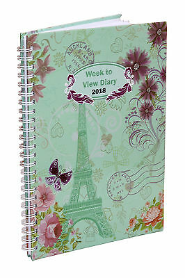 2018 A5 Week To View  Spiral Bound Diary Hardback Cover - Vintage Teal Blue
