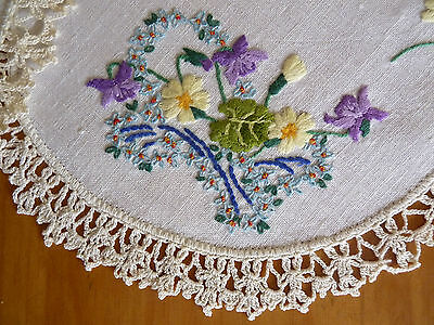 VIOLETS & FORGET-ME-NOTS Gorgeous Vintage Hand Embroidered Doily Pair