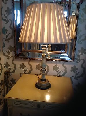 Beautiful Hand Decorated Painted Antique Lamp And Silk Shade.