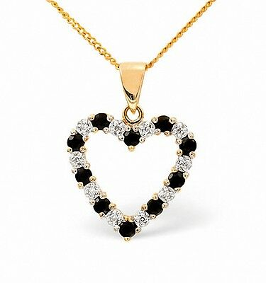 Heart Pendant Sapphire and Diamond Yellow Gold Necklace    Appraisal Certificate