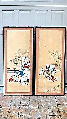 PAIR ANTIQUE 19c JAPANESE SCROLL PAINTINGS OF A MAN W/2 BOYS SEATING ON TIGER