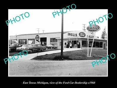 OLD LARGE HISTORIC PHOTO OF EAST TAWAS MICHIGAN, THE FORD CAR DEALERSHIP c1960