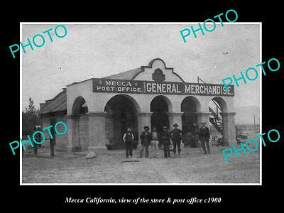 OLD LARGE HISTORIC PHOTO OF MECCA CALIFORNIA, THE STORE & POST OFFICE c1900