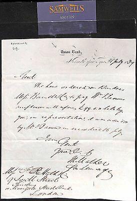 1839 GB Newcastle Entire Letter BANKING Union Bank