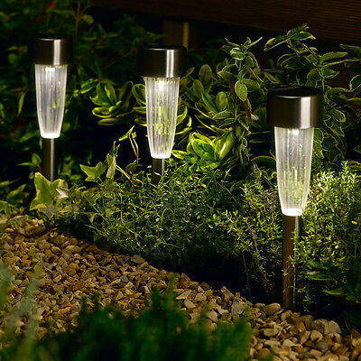 Set Of 10 Outdoor Garden Solar Power Border Stake Pathway Flute Led White Lights