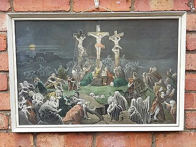 "Vintage Religious Framed Print Jesus . "" The Last Moment of Christ "" Crucifixion"