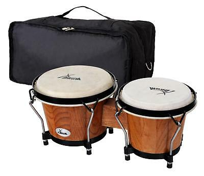 "Bongos Latin Hand Drum Percussion 6"" 7"" Gigbag Black Hardware Tobacco Finish Set"