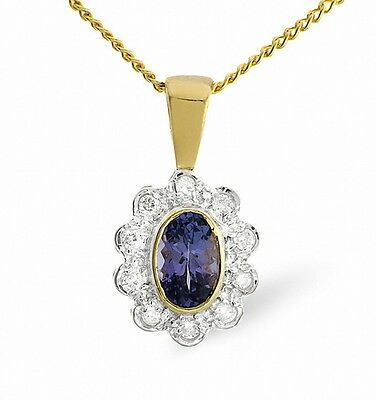 Tanzanite and Diamond Pendant Yellow Gold Necklace Cluster Appraisal Certificate