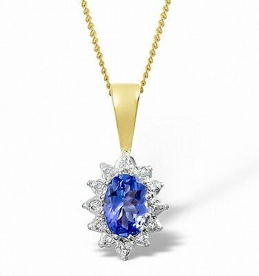 Tanzanite and Diamond Pendant Cluster Necklace Yellow Gold Appraisal Certificate