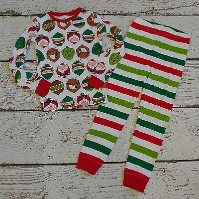 CHILDREN'S PLACE White Santa Reindeer Christmas Holiday Striped Pajamas 6 7 EUC