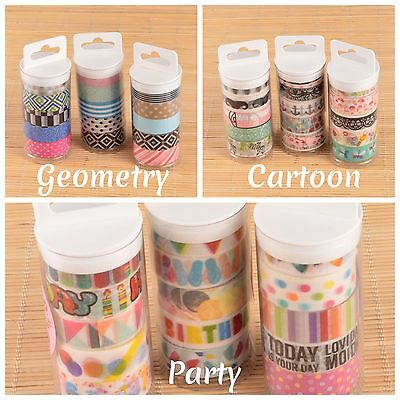 Washi Masking Decorative Paper Tape Adhesive Party Geometry or Cartoon Themed