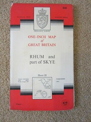 Ordnance Survey Map 33 Rhum and part of Skye 1957 Revised 1961 seventh series