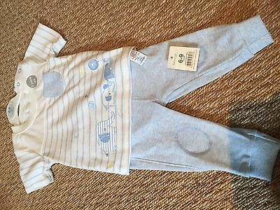 Boys' Summer Outfit/set Trousers T-shirt 6-9 Months George Blue & White