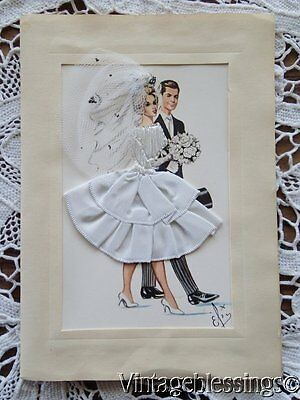 Vintage Hand Embroidered Wedding Card Printed In Spain (4 Avail) Bride Groom
