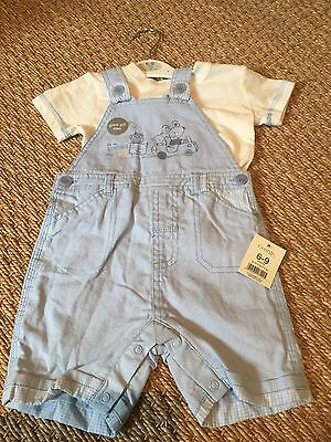 Boys' Summer Outfit/set Short Dungarees & T-shirt 6-9 Months George Blue & White