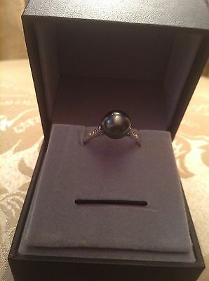 Tahitian Cultured Pearl And White Topaz Sterling Silver Ring