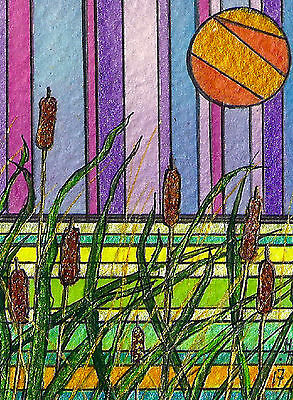 "ACEO Original ""The Bullrushes"" Semi Abstract Painting - By Hélène Howse"