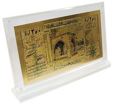 Lebanon (Syria) 250 Livres (Pounds), 1939, P-21,UNC,Gold Plated in Acrylic Frame