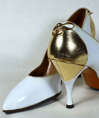 60s Vintage 8 ½ M White Patent & Metallic Gold Leather Pumps Spike HEEL Shoes