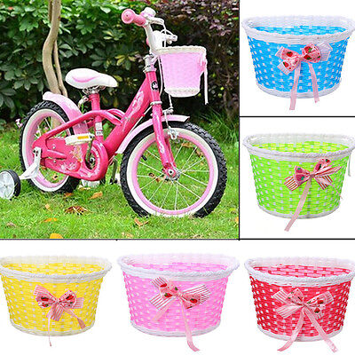 Bike Flowery Front Basket Bicycle Cycle Shopping Stabilizers Children Kids GK