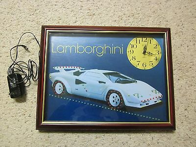 Lamborghini Countach Framed Wall Clock With Led's
