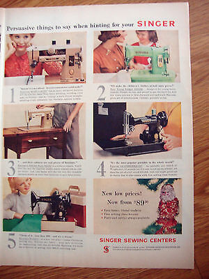 1958 Vintage Singer Sewing Machine Ad  Shows 5 Models