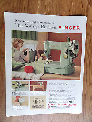 1959 Vintage Singer Sewing Machine Ad  The Young Budget Singer