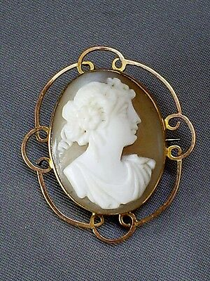FINE  ANTIQUE 9CT YELLOW GOLD MOUNT CARVED SHELL LADY CAMEO BROOCH/PIN 6.5 g