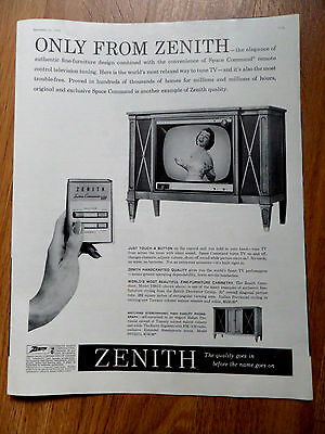1959 Zenith TV Television Ad Only from Zenith Just Touch a Button