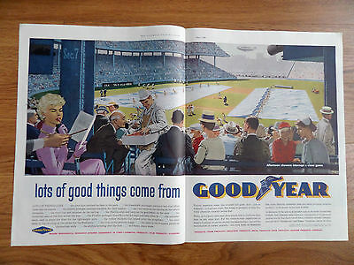 1960 Goodyear Tire Ad Afternoon Showers Interrupt a Close Baseball Game Theme