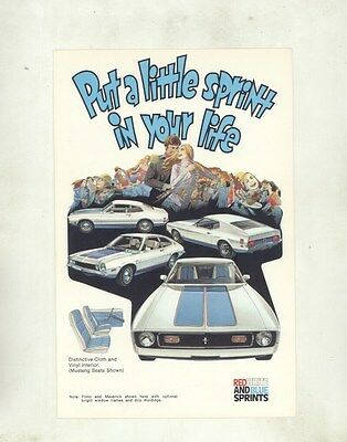 1972 Ford Maverick Mustang Pinto Sprint Large ORIGINAL Factory Postcard my8470
