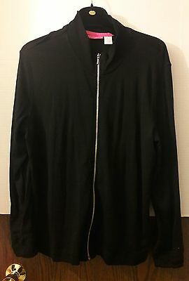 Liz Lange Maternity Size XL Black Zip Up Active Jacket Stretchy Causal Excersise