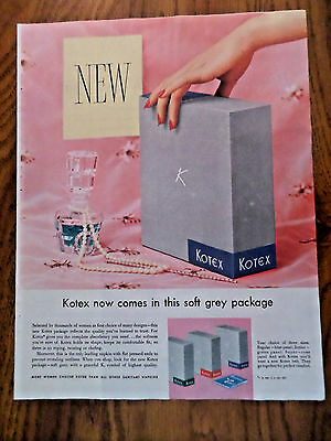1955 Kotex Ad  New Soft Grey Package