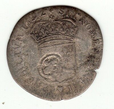 French Colonial, rare 1692 (X) recoined billon sol with lis c/m