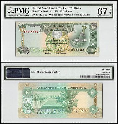 United Arab Emirates (UAE) 10 Dirhams, 2009, P-27a, UNC, Sparrowhawk, PMG 67 EPQ