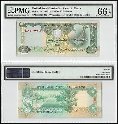 United Arab Emirates (UAE) 10 Dirhams, 2009, P-27a, UNC, Sparrowhawk, PMG 66 EPQ